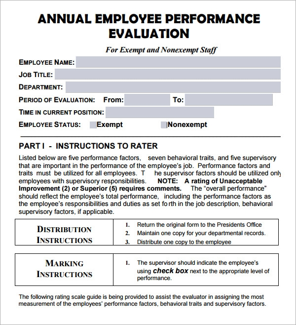 yearly employee review template employee evaluation form 17 download free documents in pdf