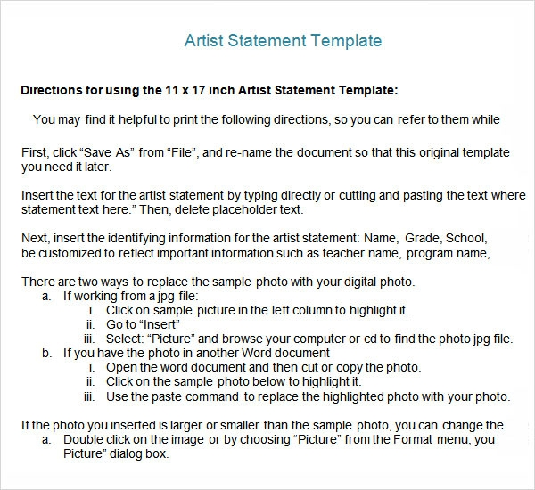 Sample Artist Statement - 9+ Documents in PDF, Word