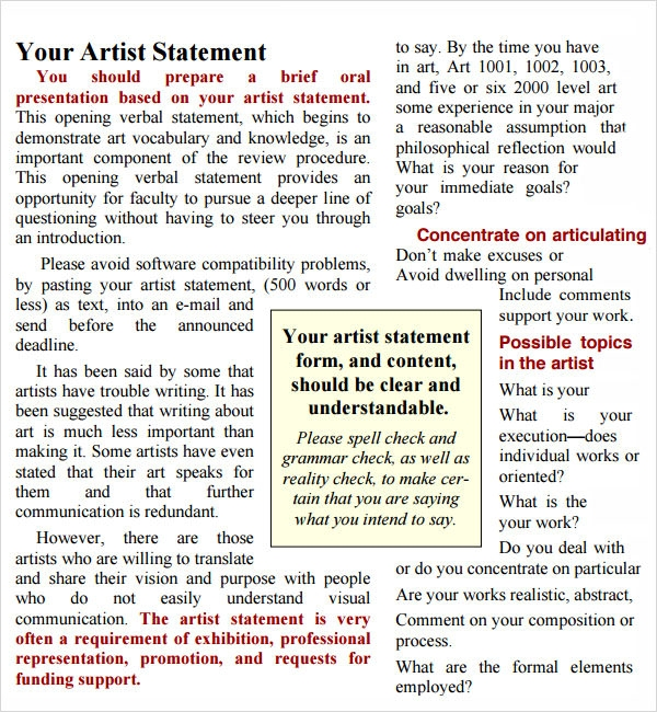 personal artist statement generator