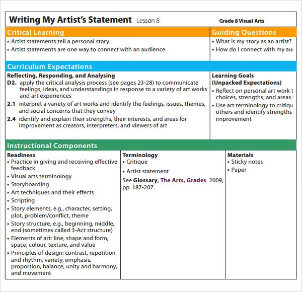 Sample Artist Statement   Documents In Pdf Word