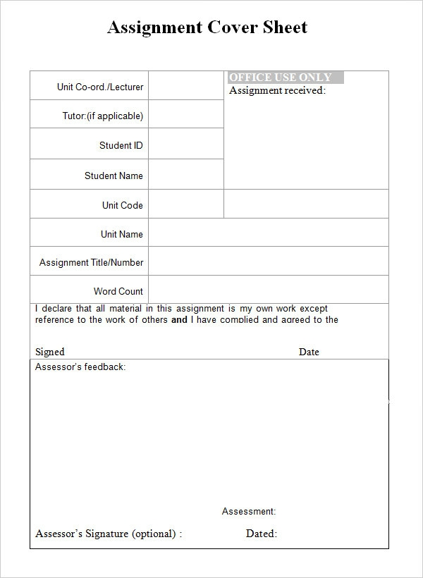 Sample Cover Sheet Template   Free Documents Download In Word Pdf