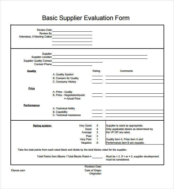 Sample Supplier Evaluation   Documents In  Word