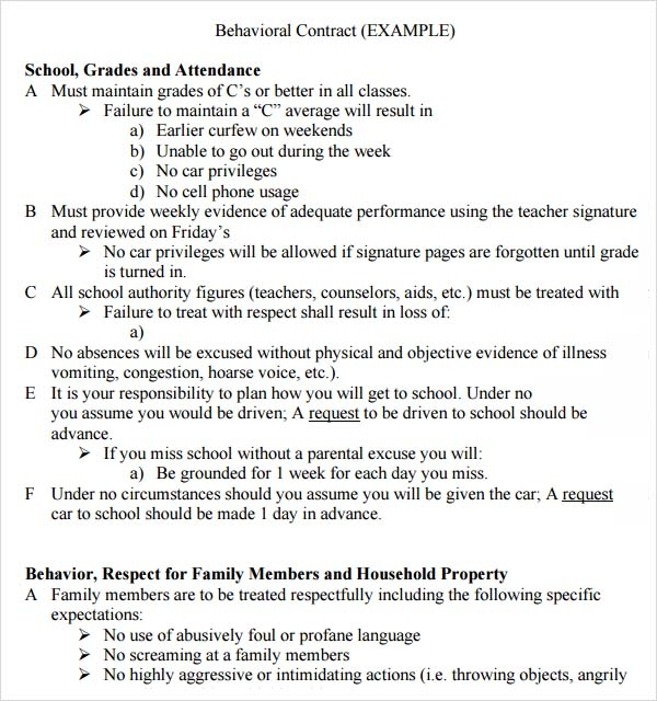 Behaviour Contract U2013 19+ Download Free Documents In PDF, Doc