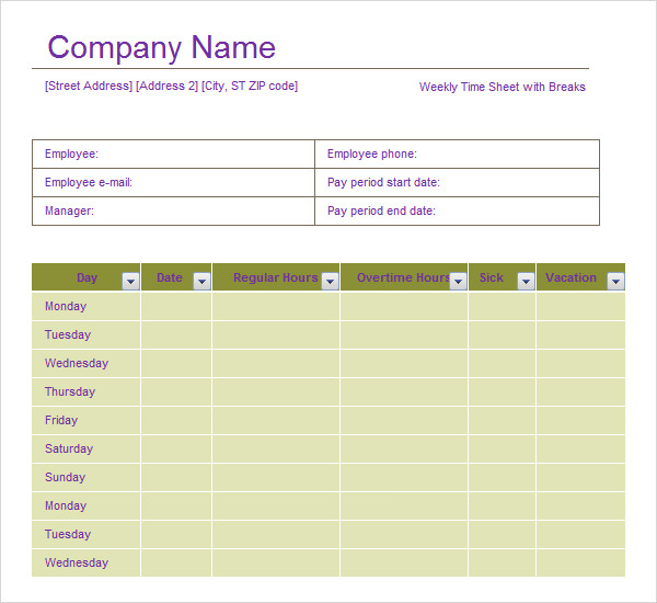 Sample Project Timesheet. Biweekly Timesheet Template Sample Time