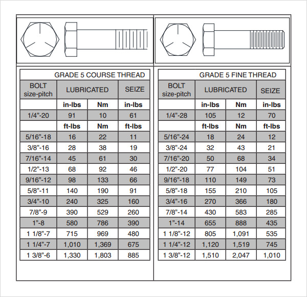Sample Bolt Torque Chart   Documents In Pdf
