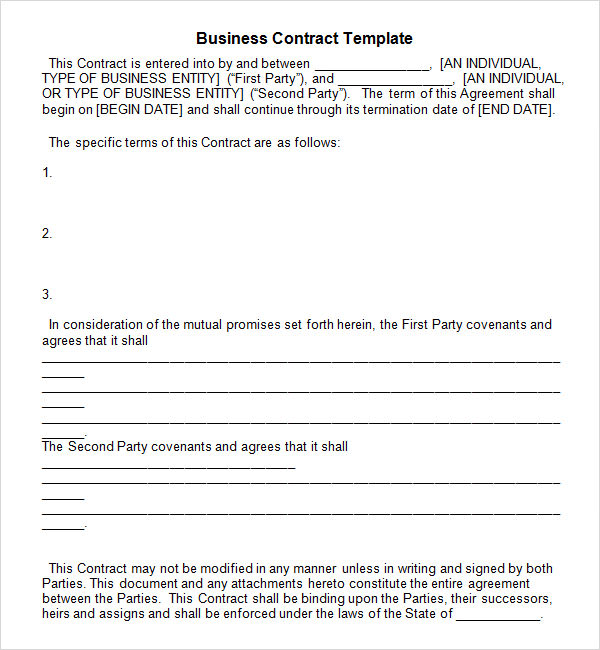 free sample business contract templates