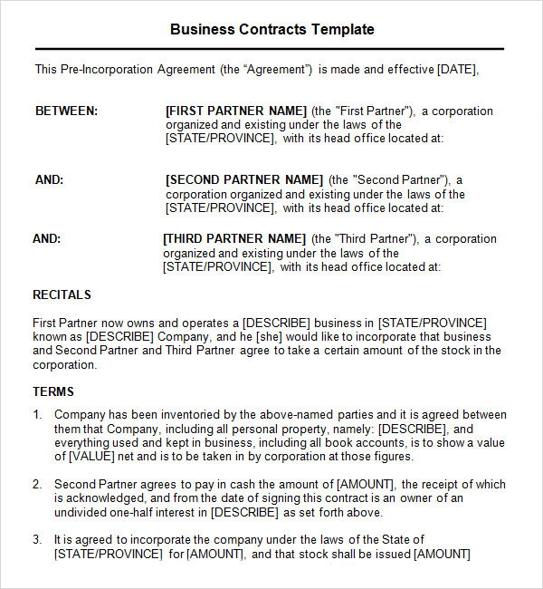 business contract template 7 free pdf doc download sample templates. Black Bedroom Furniture Sets. Home Design Ideas