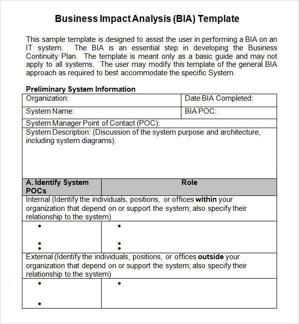 6 business impact analysis samples sample templates business impact analysis definition flashek Gallery