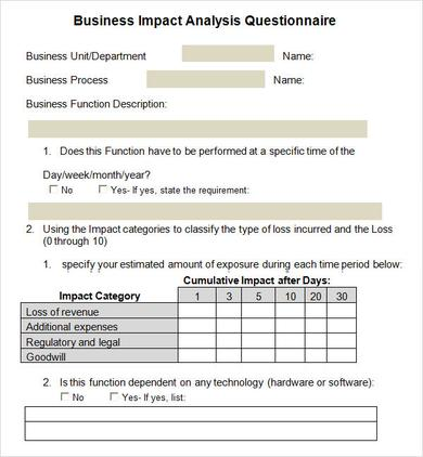 Business Impact Analysis   Documents In Word Pdf