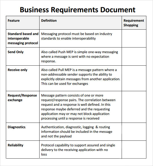 7 business requirements document templates pdf word for Business requirement specification document template