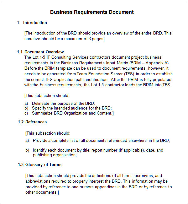 Business Requirements Document Template  Best Business Template
