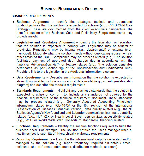 Business requirements document template business requirements example accmission Images
