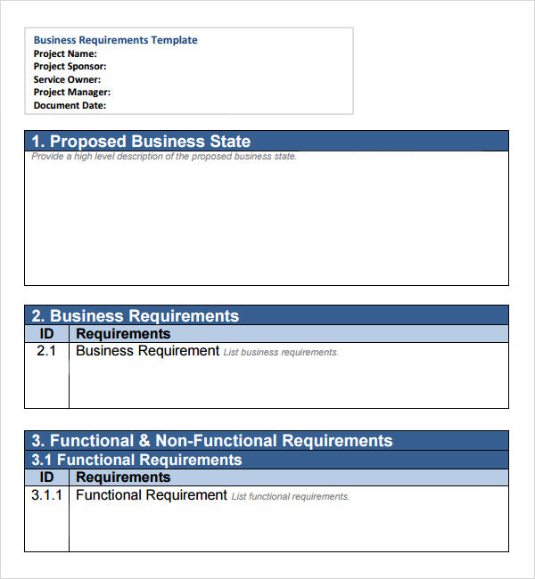 7 sample business requirements document templates sample templates business requirements template accmission Choice Image