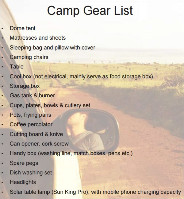 Camping Gear List Format Download