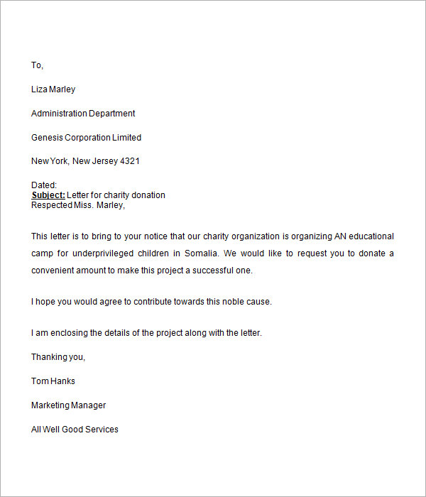 Donation Request Letter   Free Download For Word