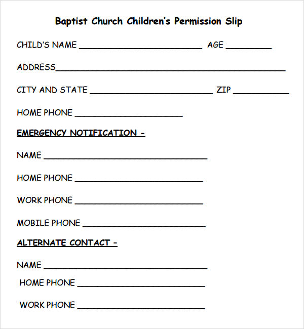 Permission Slip Template - 7+ Free PDF , DOC Download | Sample ...