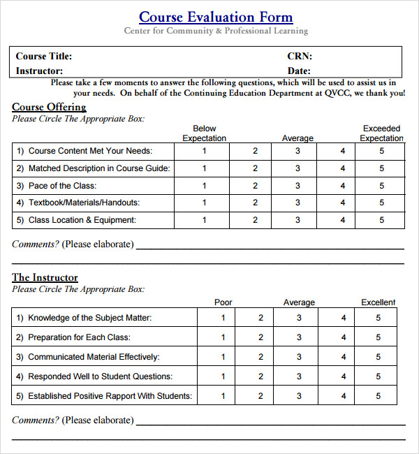 Class evaluation template 10 free download for pdf for End of course evaluation template