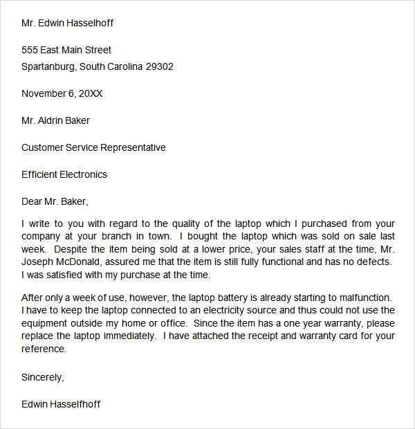 Complaint letter template word complaint letter 9 free download for word sample templates spiritdancerdesigns Choice Image