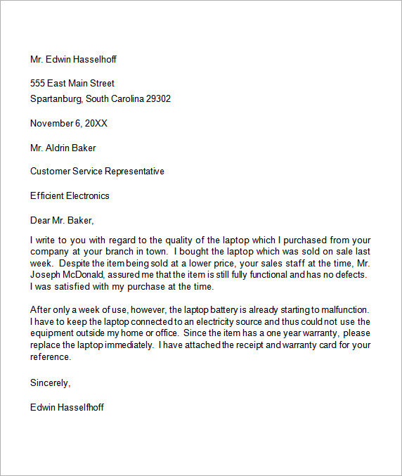 Printable formal business letter 03 sample complaint letter to complaint letter 9 free download for word sample templates spiritdancerdesigns Choice Image
