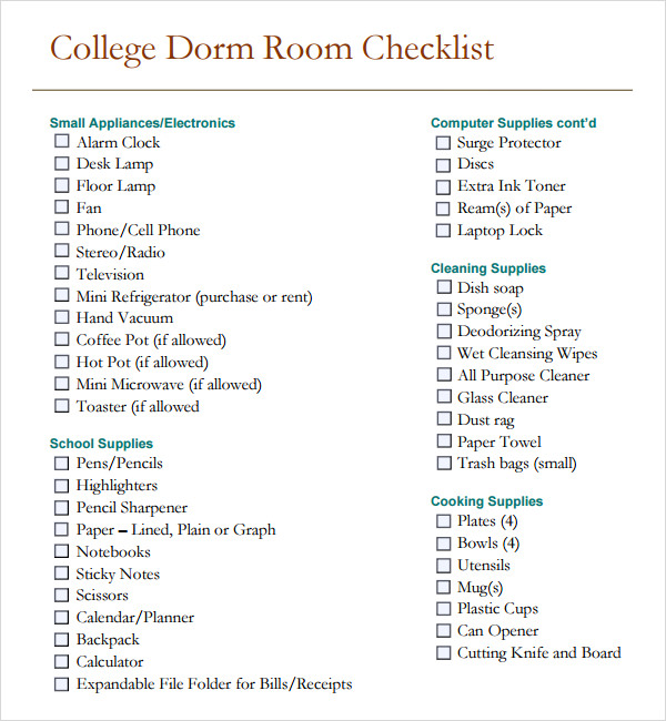 Outdoor Camping Checklist Template Word Excel Templates. Sample Dorm Room  Checklist Documents In Pdf