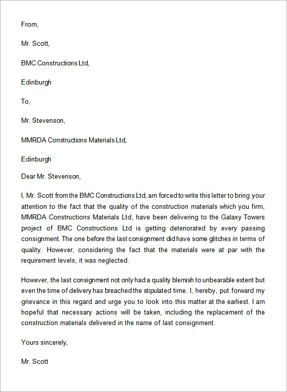 Example Complaint Letter Sample Complaint Letter Template For
