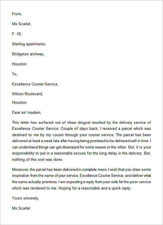 Letter Of Complaint Poor Service Example
