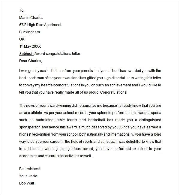 Sample congratulation letter 10 free documents download in word congratulations letter for award details file format spiritdancerdesigns Image collections