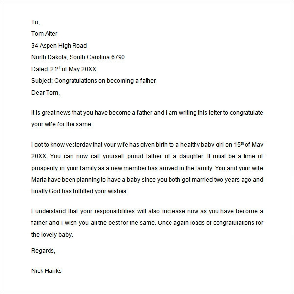 Sample Congratulation Letter   Free Documents Download In Word