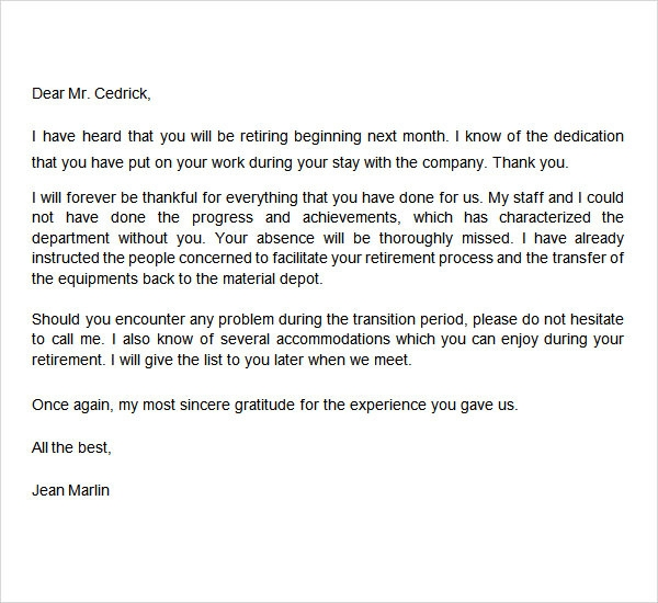 retirement letter from employer