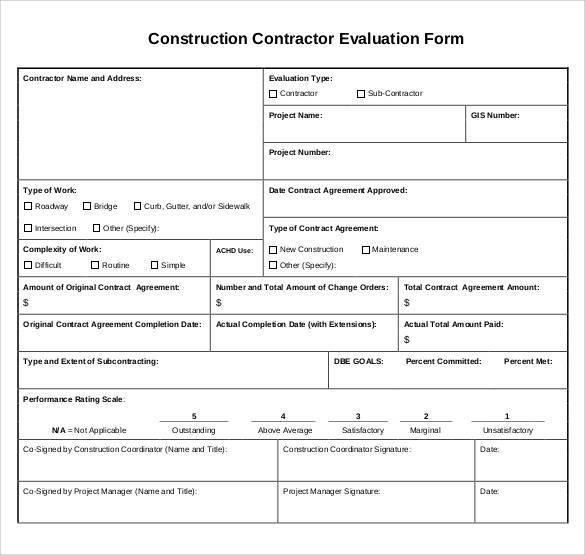 construction contractor evaluation form