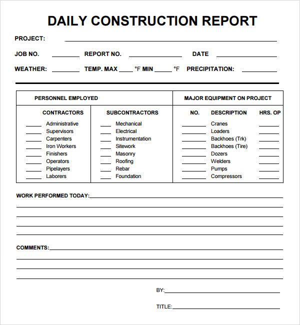 Daily report 7 free pdf doc download sample templates for Construction site visit report template