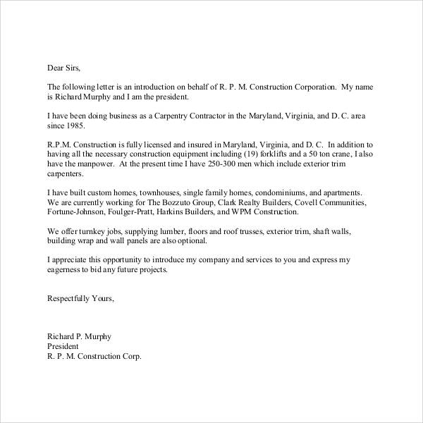 construction introduction letter