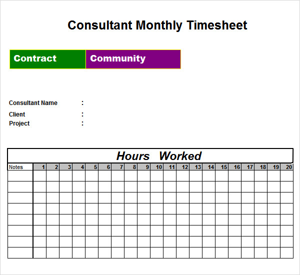 contractor monthly timesheet