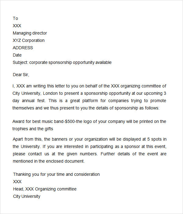 Sponsorship Letter 7 Free Download for Word – Sponsorship Letter Template Free