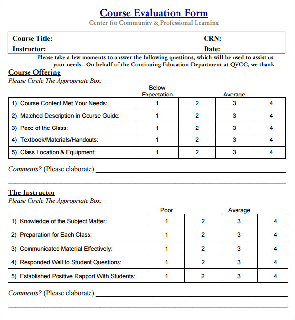 instructor evaluation form 8 download free documents in pdf