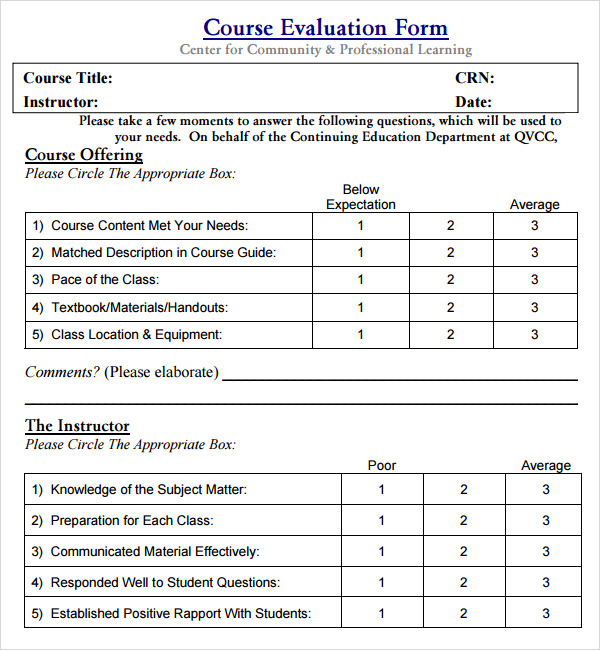 Course Evaluation Sheet Template Pictures to Pin – Instructor Evaluation Form