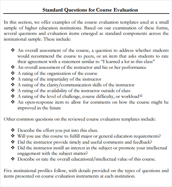 training course evaluation form template .