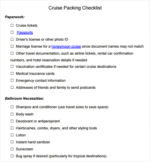 cruise packing checklist template
