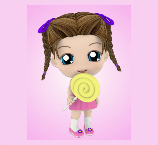 cute chibi girl postcard