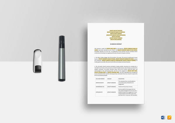dj booking contract template to edit