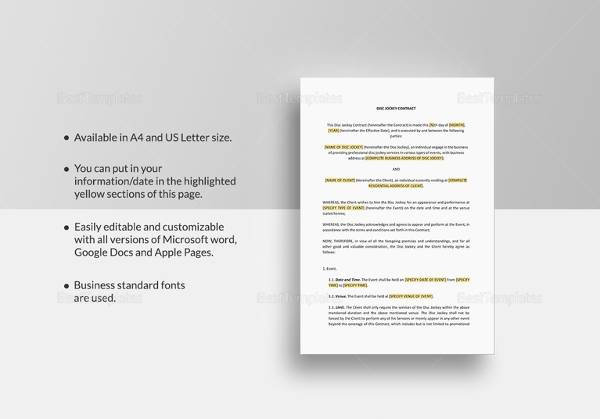Dj Contract   Download Documents In Pdf