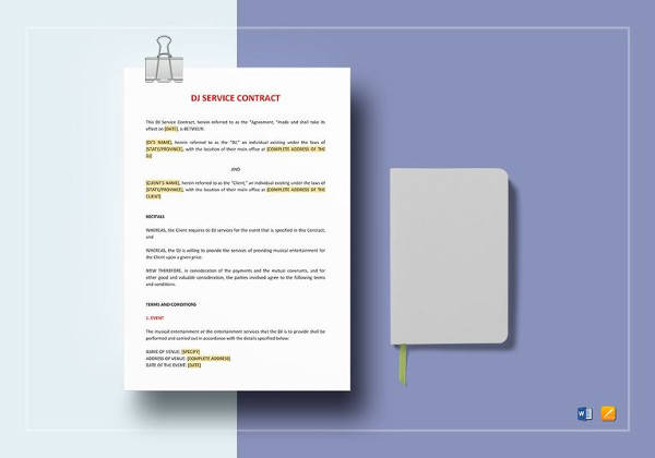 dj service contract template in doc