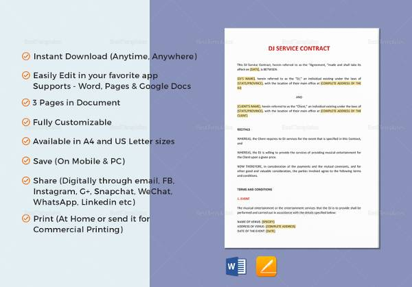Service Contract Template   Download Free Documents In Word Pdf
