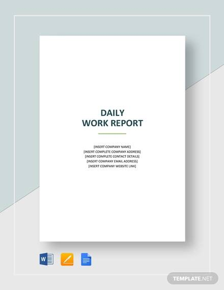 Sample Daily Work Report Template - 22+ Free Documents in