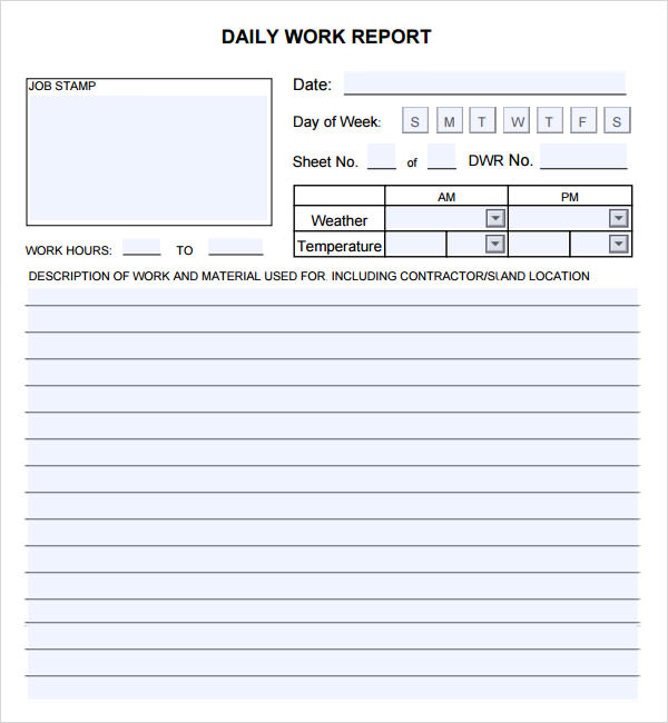 DailyWorkReportjpg - Weekly work progress report template