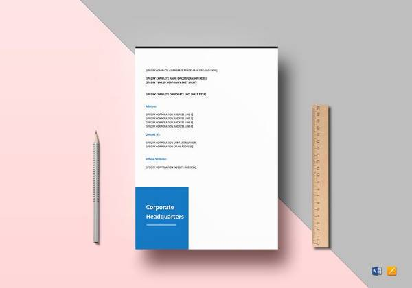 easy to print corporate fact sheet template