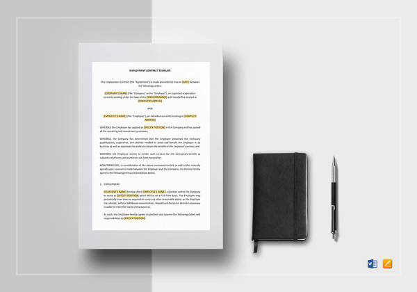 editable employment contract template