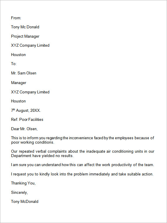 employee formal complaint letter sample Parlobuenacocinaco