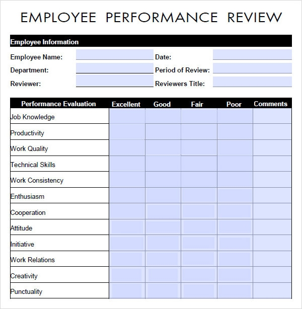 Performance Evaluation 9 Download Free Documents in PDF Word – Employee Review Forms