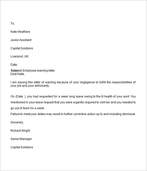 Formal Warning Letter To Employee from images.sampletemplates.com